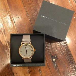 Marc By Marc Jacobs grey leather/ rose gold watch